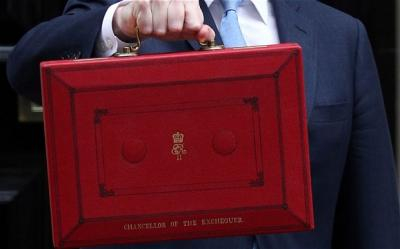 Chancellor of the Exchequer holding Red Budget Box