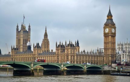 Autumn picture of The British houses of Parliament with the River Thames in foreground