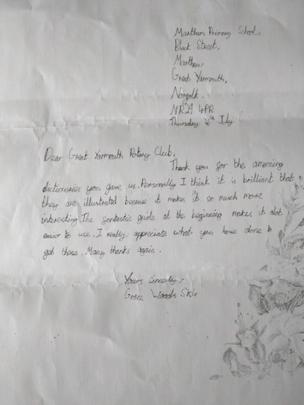 Great Yarmouth School Pupil Thank you Letter for Dictionaries