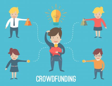 Crowdfunding explanation diagram against blue background