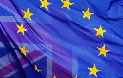 EU flag with United Kingdom flag merged in
