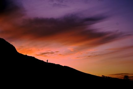 mountain silhouette with beautiful sky in background