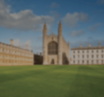 Cambridge University landscape with blue sky in background