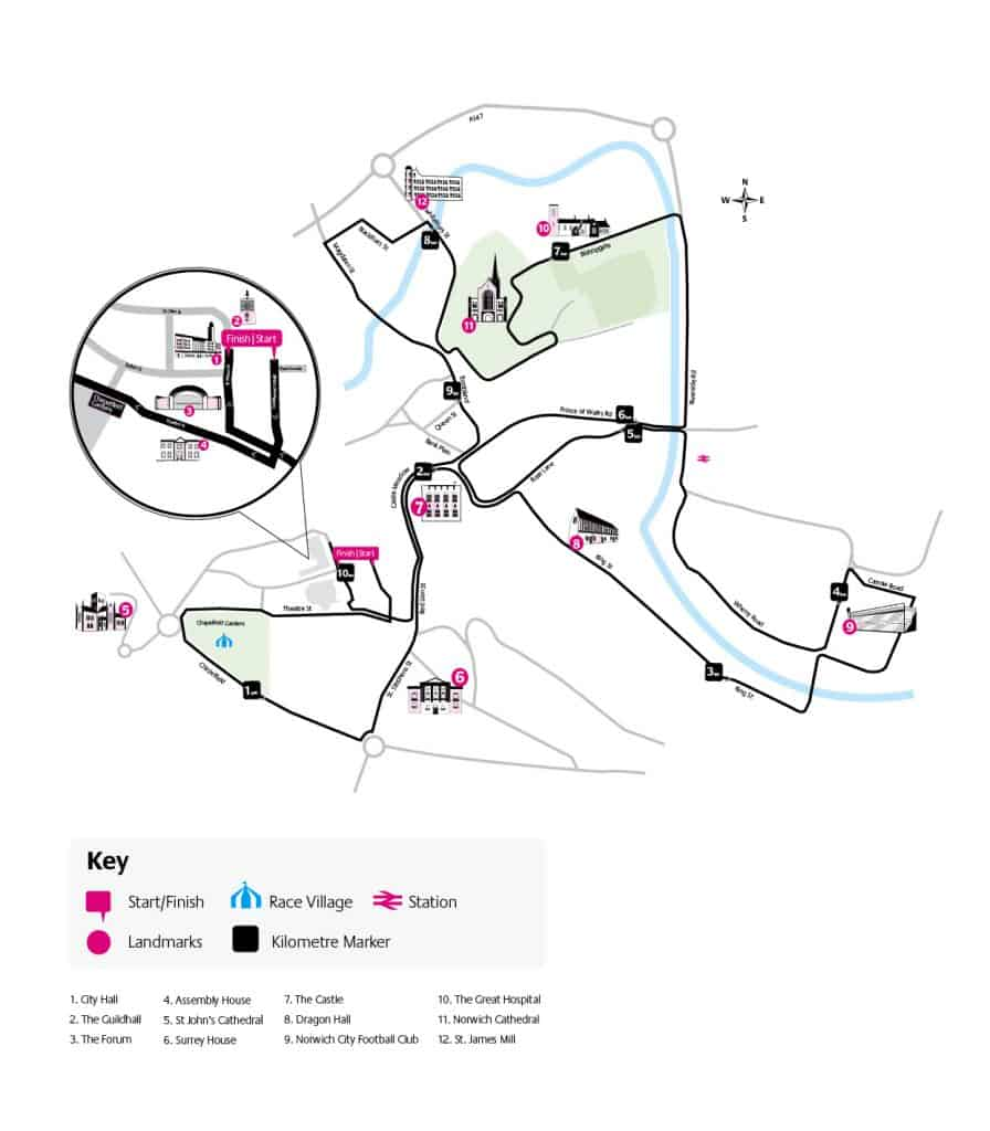 Detailed route map of Run Norwich 2017