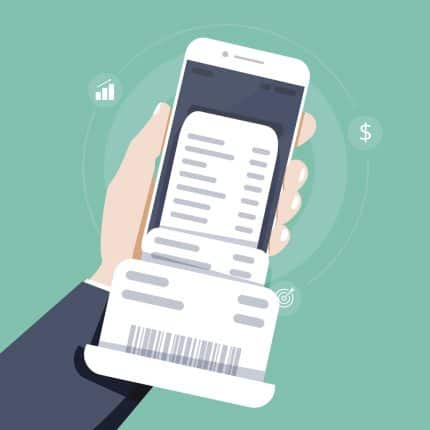 Hand holding smartphone with making tax digital VAT records , flat style Vector illustration. Flat design.