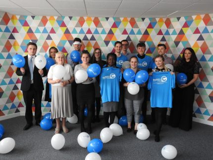 Aston Shaw's Norwich team celebrating their partnership with Big C