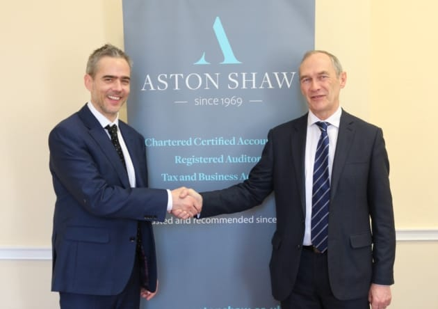 Photo of Dominic Shaw, Director of Aston Shaw with Neil Kirby, Retiring Director of Kirby & Haslam