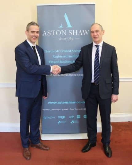 Photo of Dominic Shaw, Director of Aston Shaw with Neil Kirby, Director of Kirby & Haslam