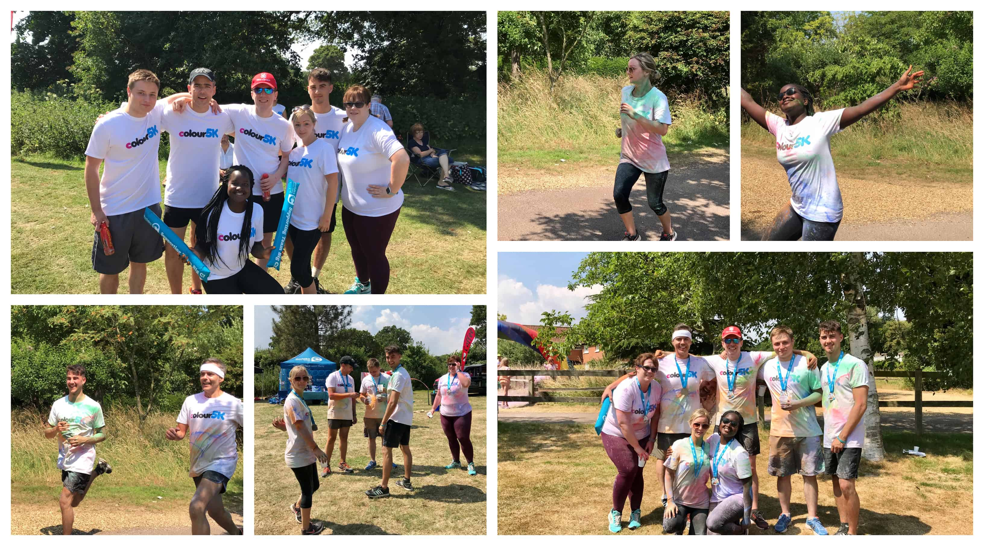 Collage of Aston Shaw Staff Taking part in Colour 5k for Big C