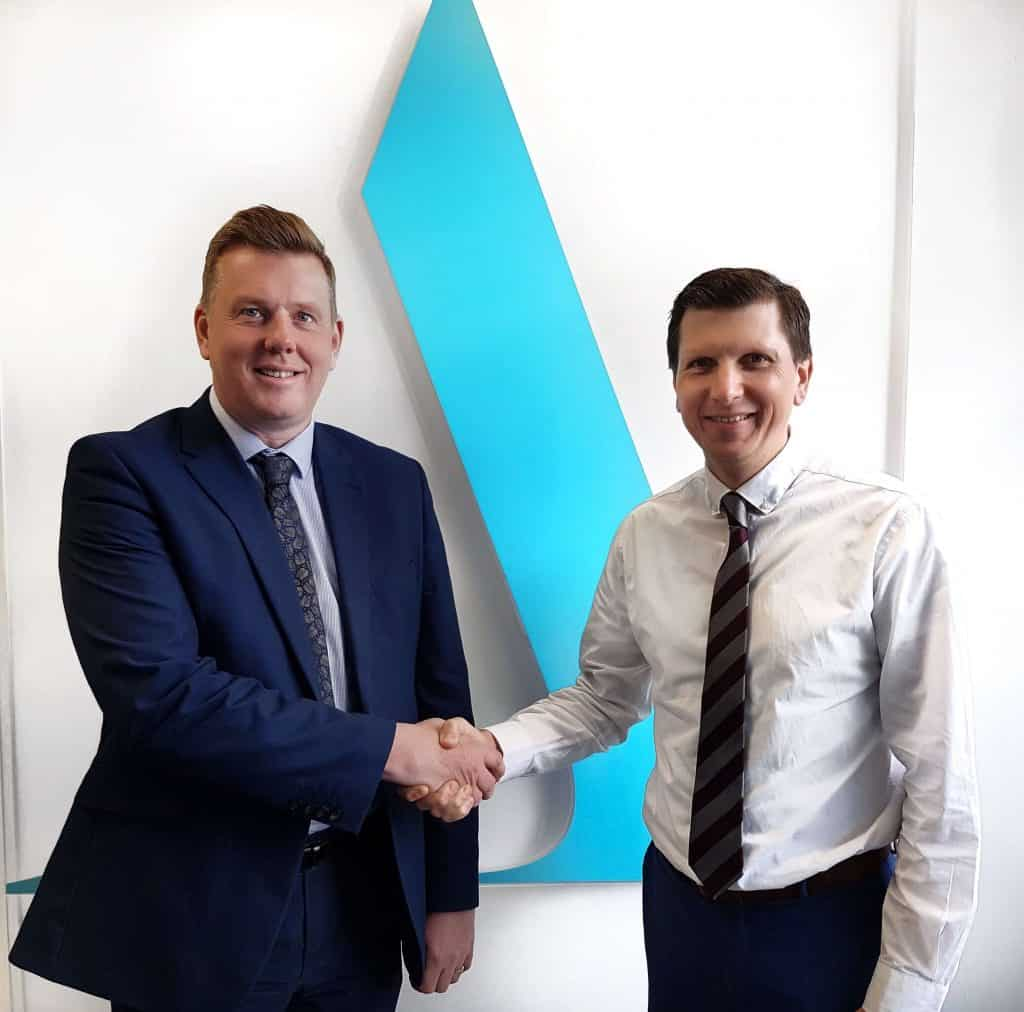 Scott Herd, Client Services Manager Shaking Hands with Director of Aston Shaw, Mark Noakes