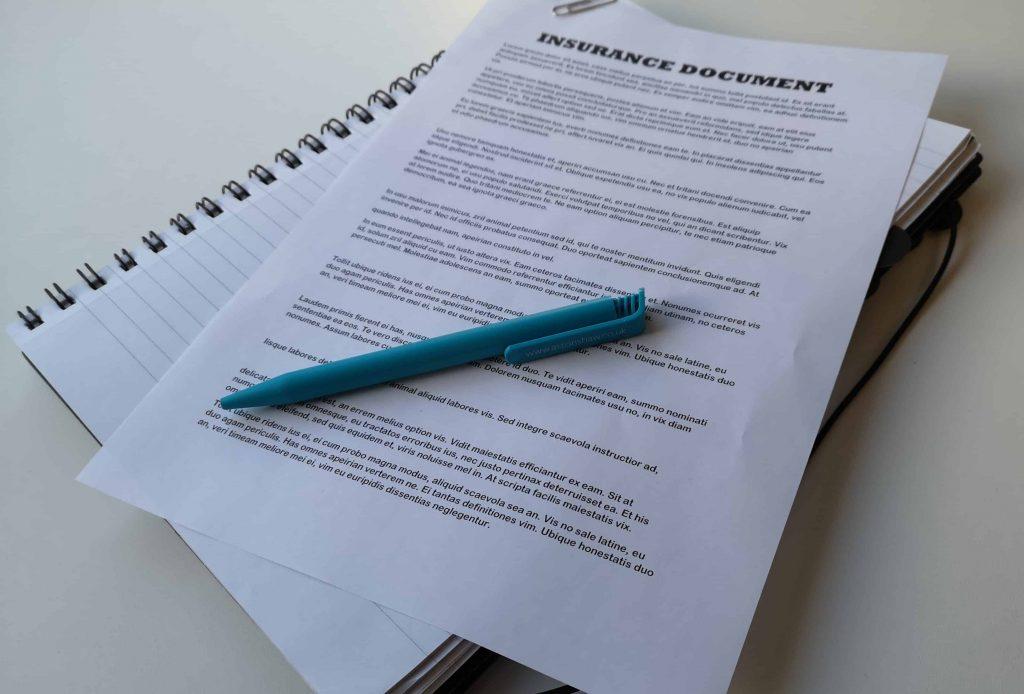 Photo of Insurance Document