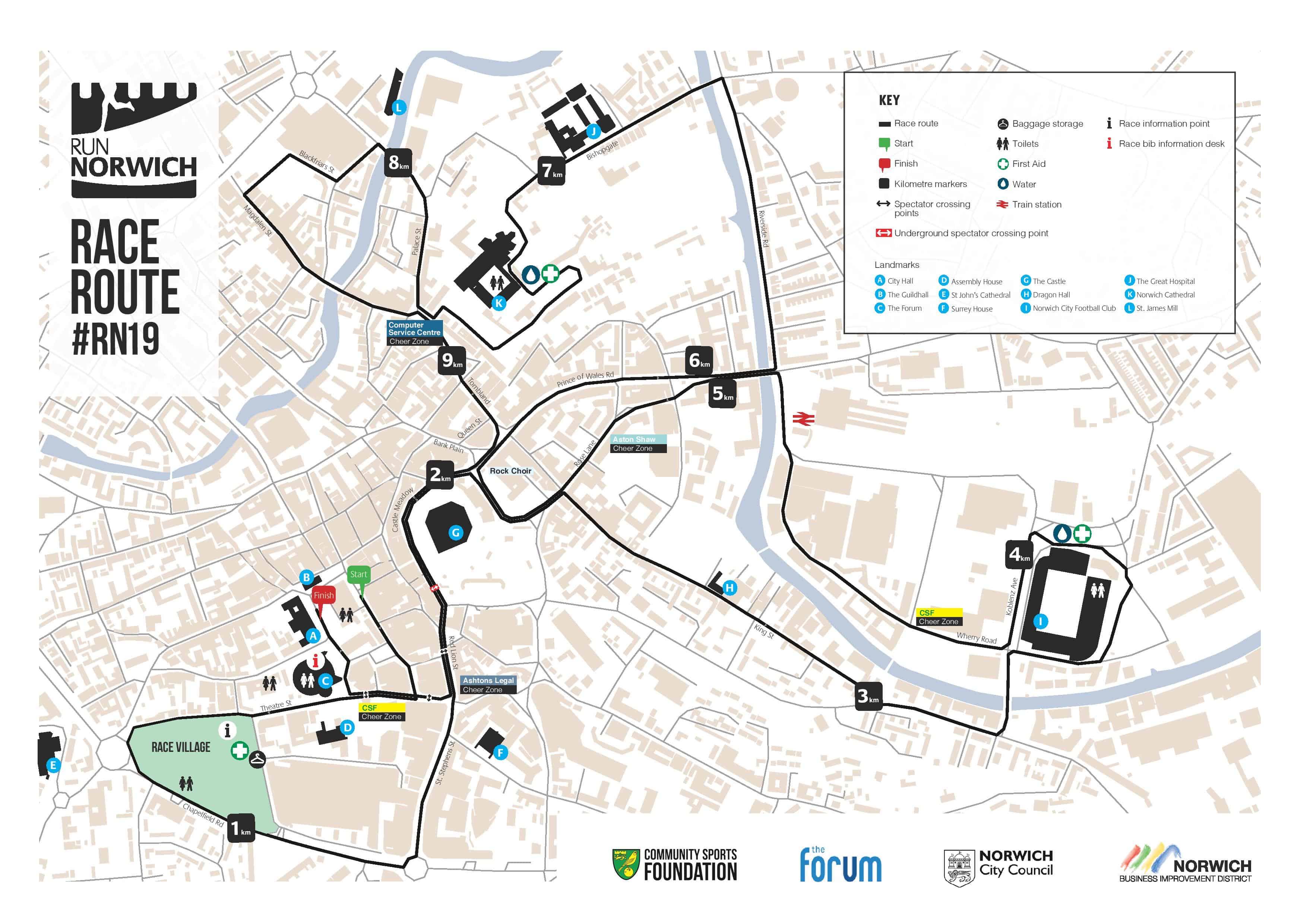 Run Norwich Route Map 2019