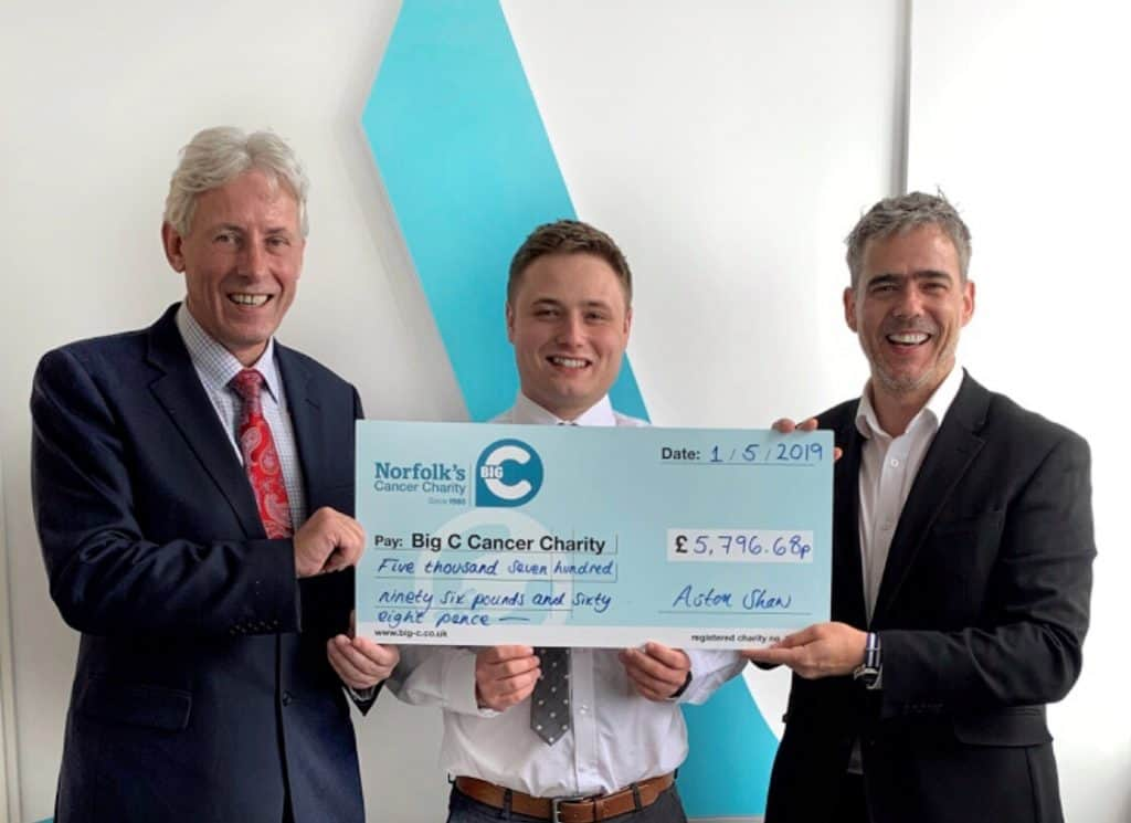 Aston Shaw Presents Cheque to Dr Chris Bushby from Big C