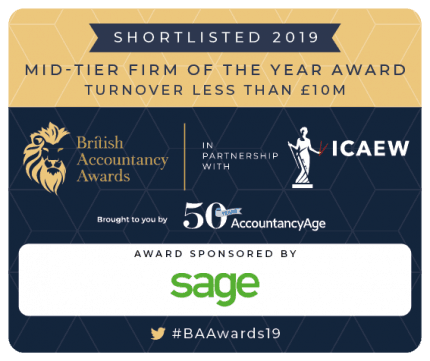 British Accountancy Awards 2019 Shortlist Badge for Mid-tier Firm of the Year
