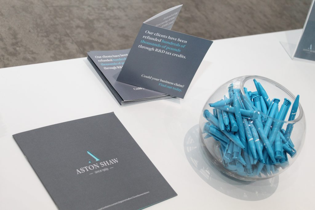 Aston Shaw branded pens and leaflets